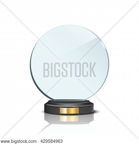 Award Trophy, Circle Shaped Glass Prize Statue On White Background. Champion Glory In Competition Ve