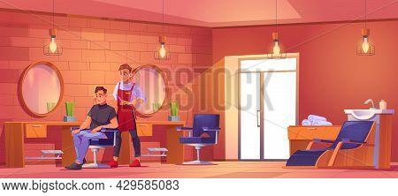 Man Visiting Barbershop, Barber Cutting Hair To Client In Beauty Salon. Master Serve Customer Sittin