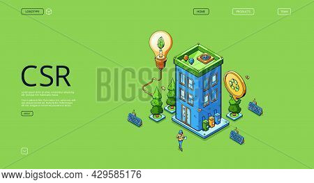 Csr Banner. Corporate Social Responsibility Concept, Sustainability Development. Vector Landing Page