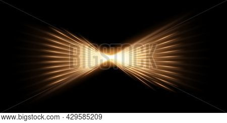 Gold Light Glow On Black Horizontal Background. Golden Bright Flare Shining Vector Illustration. Fla