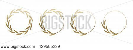 Golden Laurel Wreath Round Frame Set. Rings With Gold Leaves, Circle Award Logo Or Emblem Vector Ill