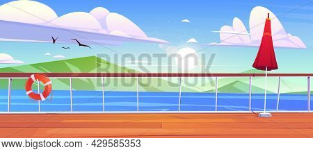 View From Cruise Ship Deck To Seascape With Mountains On Horizon. Ocean Landscape With Rocks And Bir