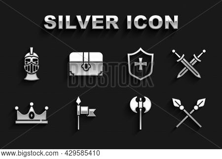 Set Medieval Spear, Crossed Medieval Sword, Spears, Axe, King Crown, Shield, Iron Helmet And Antique