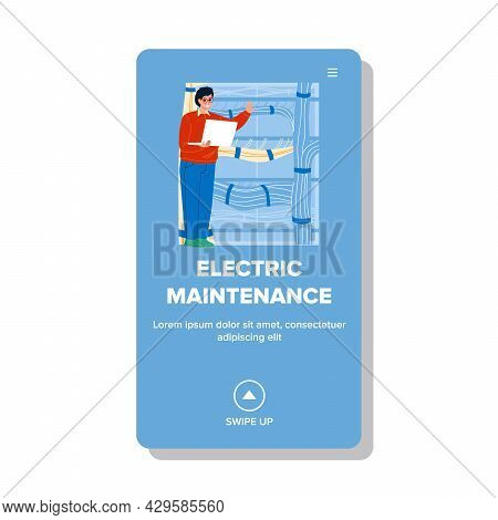 Electric Maintenance Worker Checking Cord Vector. Electric Maintenance Service Worker Man Engineer C