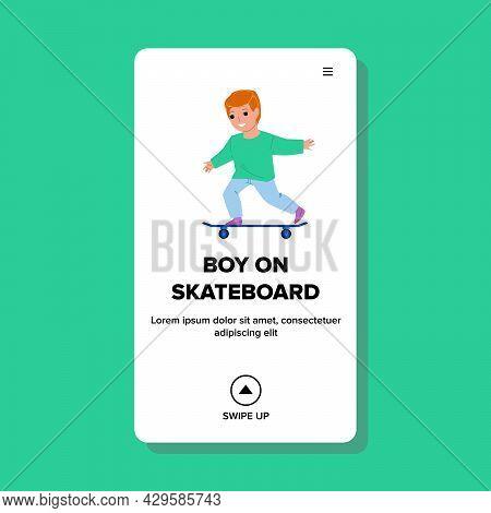Child Boy On Skateboard Riding In Park Vector. Boy On Skateboard Making Extreme Trick And Ride Trans