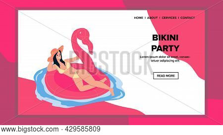 Bikini Party In Swimming Pool Or Sea Beach Vector. Young Woman Floating On Lifebuoy In Swan Or Flami
