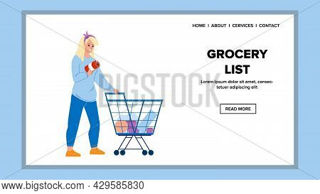 Grocery List For Buying Products In Market Vector. Young Woman Customer With Grocery List Choosing F