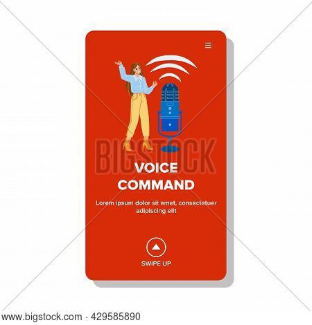 Voice Command Personal Assistant Talk Girl Vector. Young Girl Speak Voice Command For Control Or Cre