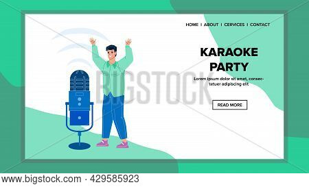 On Karaoke Party Resting Young Man Singer Vector. Happy Boy Singing Song In Microphone Electronic De