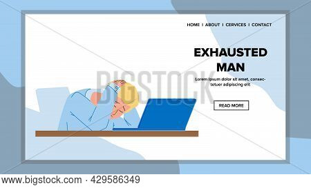 Exhausted Man Sleeping On Laptop In Office Vector. Exhausted Man Businessman With Headache Sleep On
