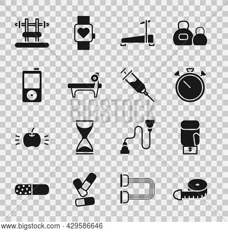 Set Tape Measure, Boxing Glove, Stopwatch, Treadmill Machine, Bench With Barbel, Music Player, And D