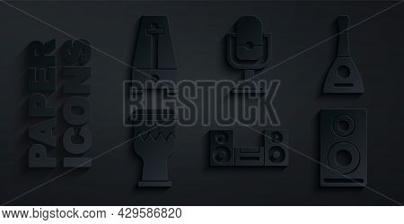 Set Home Stereo, Balalaika, Drum, Stereo Speaker, Microphone And Metronome With Pendulum Icon. Vecto