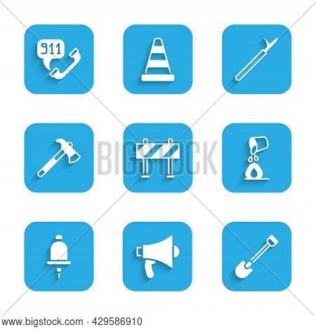 Set Road Barrier, Megaphone, Fire Shovel, Bucket Extinguishing Fire, Ringing Alarm Bell, Firefighter