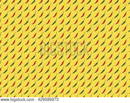 Red And Green Hot Chili Peppers Alternation On Yellow Background, Pattern, Top View