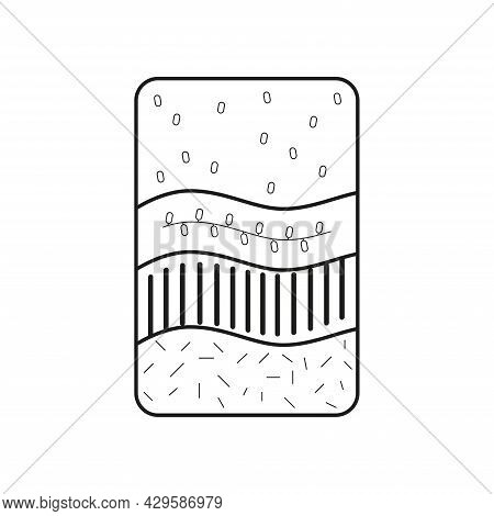 Spa Soap Body Scrub With Interspersed Herbs, Grains. Icon Of A Black Line On A White Background.