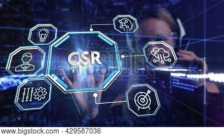 Csr Abbreviation, Modern Technology Concept. Business, Technology, Internet And Network Concept