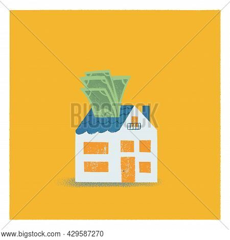 Blue House In Flat Style Vector Illustration. A Stack Of Money Sticking Out Of The Roof. Concept Of