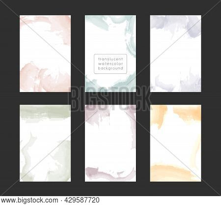 Watercolor Frame Template Collection With Copy Space, Abstract Translucent Water Color Brush Strokes