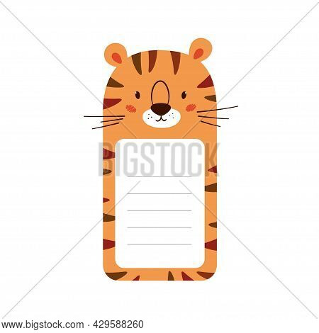 Note Paper Decorated Tiger Head. Cute Animal Sheet Template For Diary, Timetable, Memo. Box With Spa