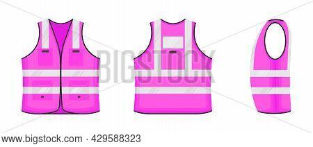 Safety Reflective Vest Icon Sign Flat Style Design Vector Illustration Set. Pink Fluorescent Securit