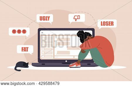 Cyber Bullying. Sad African Woman With Laptop Receiving Pop Up Messages. Online Abuse Concept. Teena