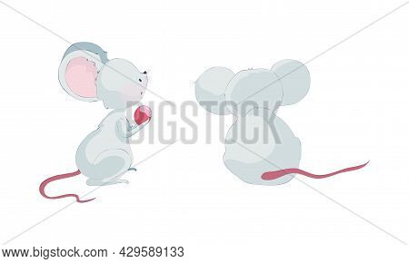 Cute Funny Mice Characters Set. Side And Back View Of Lovely Little Mouse Cartoon Vector Illustratio