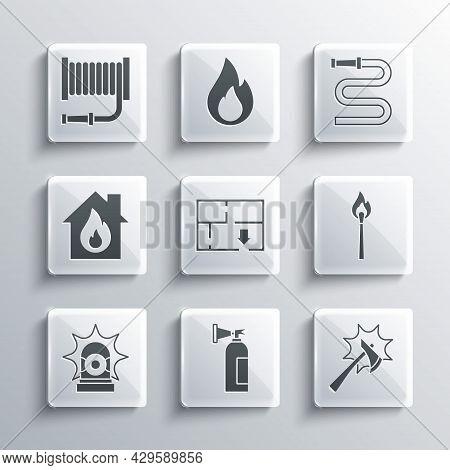Set Fire Extinguisher, Firefighter Axe, Burning Match With Fire, Evacuation Plan, Flasher Siren, Bur