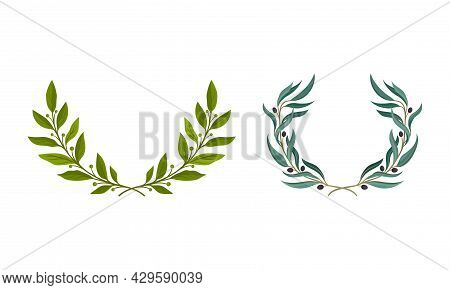 Floral Wreath Made Of Green Leaves And Berries Set. Invitation, Greeting Card, Banner, Wedding Frame