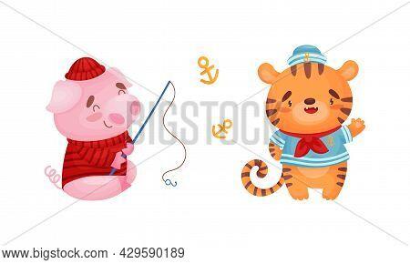Cute Baby Animals Sailors Set. Funny Pig, Tiger Captain Characters Cartoon Vector Illustration