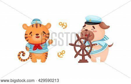 Cute Baby Animals Sailors Set. Funny Tiger, Dog Captain Characters Cartoon Vector Illustration