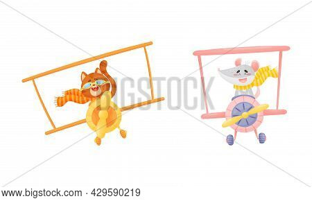 Cute Baby Animals Pilots Set. Funny Cat, Mouse Pilot Characters Flying By Airplane Cartoon Vector Il