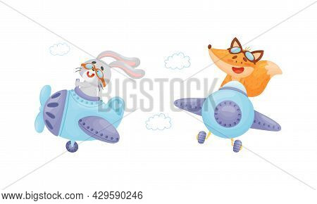 Cute Baby Animals Pilots Set. Funny Bunny, Fox Pilot Characters Flying By Airplane Cartoon Vector Il