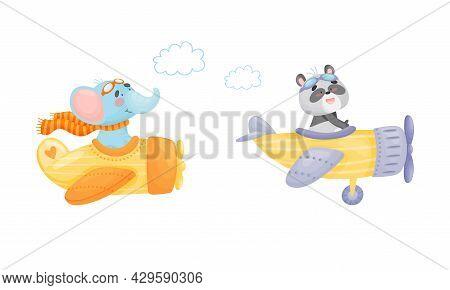 Cute Baby Animals Pilots Set. Funny Elephant, Panda Bear Pilot Characters Flying By Airplane Cartoon