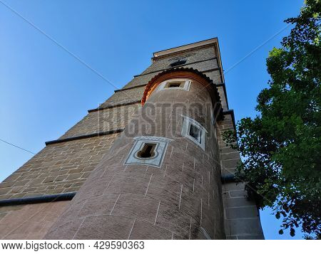 Ceske Budejovice, Czech Republic - July 12, 2021: Baroque Black Watchtower In The City Center Of His