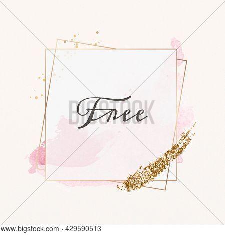 Free text badge feminine frame