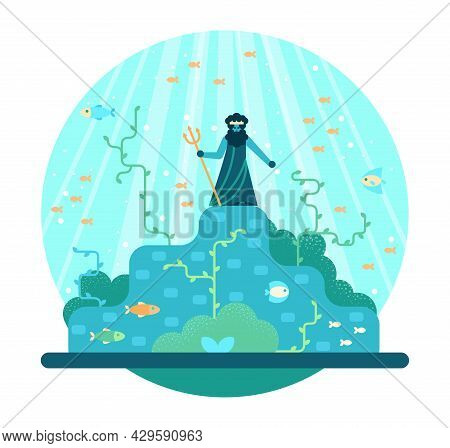 Cartoon God Of The Seas And Oceans In Toga And Crown With Trident Stands On The Seabed Of Fish And A