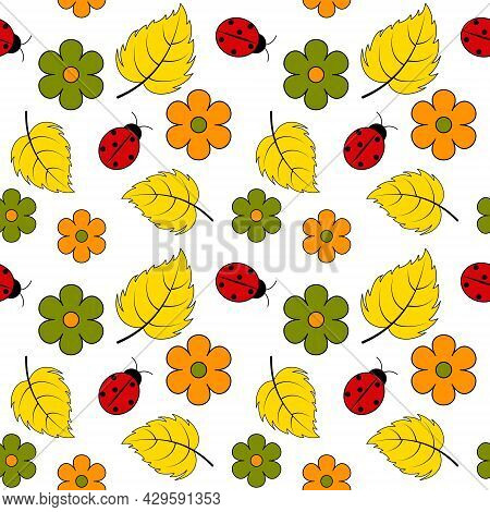 Decorative Seamless Background With Ladybirds And Flowers