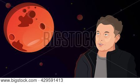 Illustration Of Elon Musk And The Planet Mars. Famous Founder