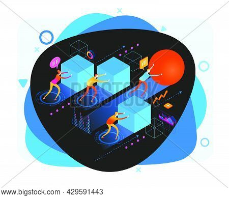 A Businessman Pushing A Sphere Leads The Race Among Other Businessmen Pushing Boxes. Winning Strateg