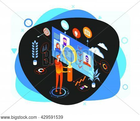 Know Your Customer Concept. Modern Business Technology. The Person Interacts With Potential Customer