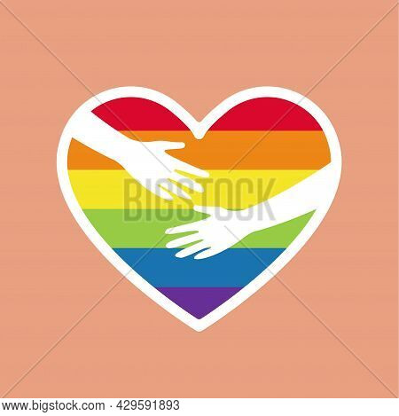 Heart Rainbow Colored With Hugging Hands. Lgbtq Community Symbol Isolated. Concept Of Lgbt People El