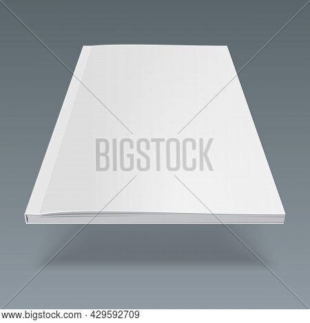 Blank Flying Cover Of Magazine, Book, Booklet, Brochure. Illustration Isolated On Gray Background. M