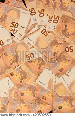 European Currency In The Face Of Fifty Euros, Saving Money In Foreign Currency.