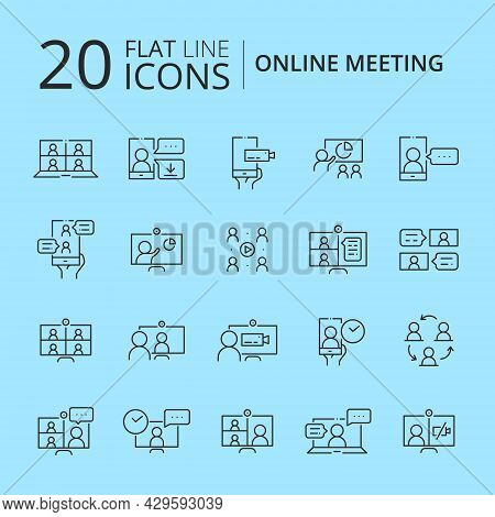Simple Set Of Online Meeting Related Line Icons Isolated. Video Conference Concept. Distance Work An
