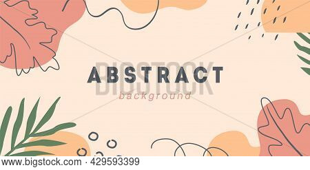 Boho Autumn Horizontal Banner Template. Trendy Abstract Background With Fall Season Forest Leaves, T