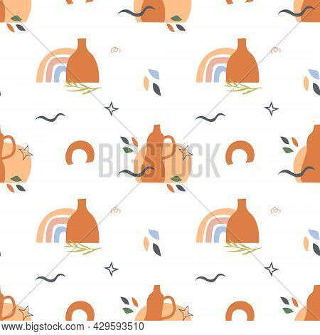 Boho Art Aesthetic Seamless Pattern With Autumn Arrangements Of Pottery, Ceramic Vases And Earthy Ju
