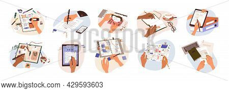 Set Of Hands Holding Pens And Pencils, Writing Letter On Paper, Taking Notes In Notebook, Filling Di