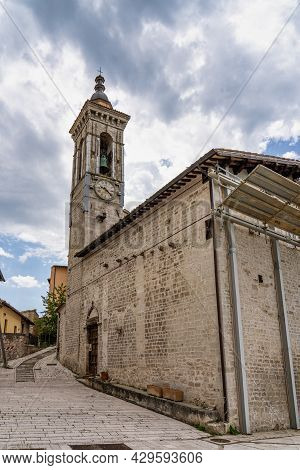 The Historic Center Of Preci City At July 2020 After The Earthquake Of Central Italy In 2016