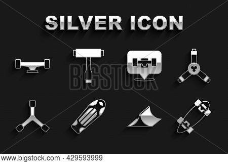 Set Skateboard Deck, Y-tool, Longboard Or Skateboard, Park, Wheel, And T Icon. Vector