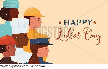 Happy Labor Day Vector Flat Banner. Illustration With People Group Of Different Occupation. Firefigh